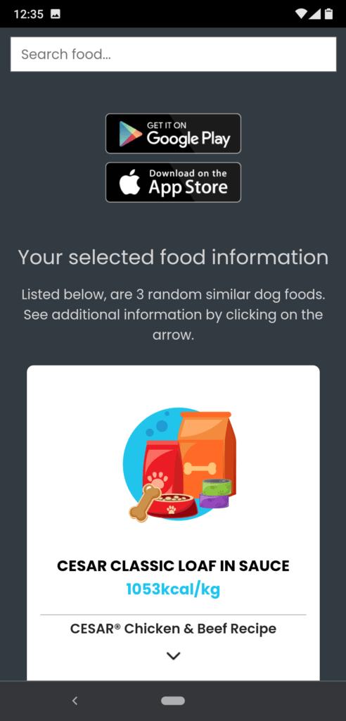 Pawsm food similarity tool - selected food
